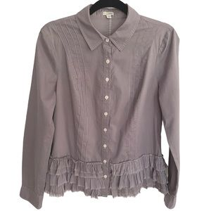 Anthropologie Odille Gray Ruffle Top   Size 8
